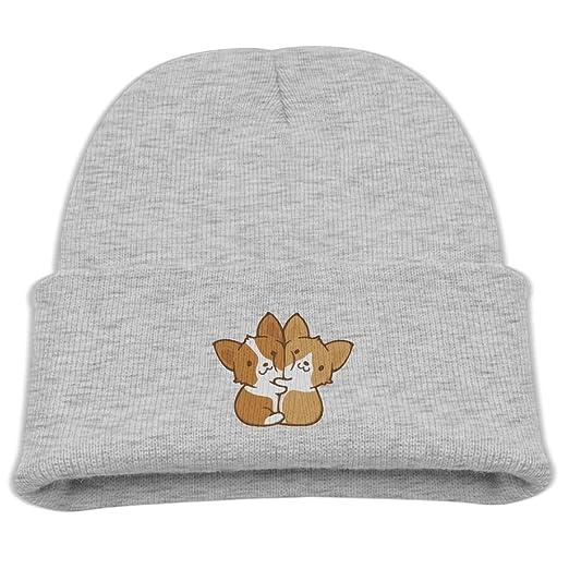 Unisex JXC-L Hugging Corgis Hats Cute Soft Knit Beanie Caps For Kids