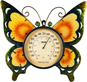 Evergreen Garden Butterfly Outdoor Wall Thermometer