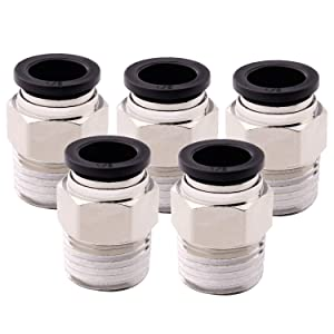 "Quick Connect Fittings PC 1/2""OD X 1/2'' NPT Thread Male Straight Connect Push Fit Fittings Tube Fittings Pneumatic Fittings Nickel-Plated 5 Packs"