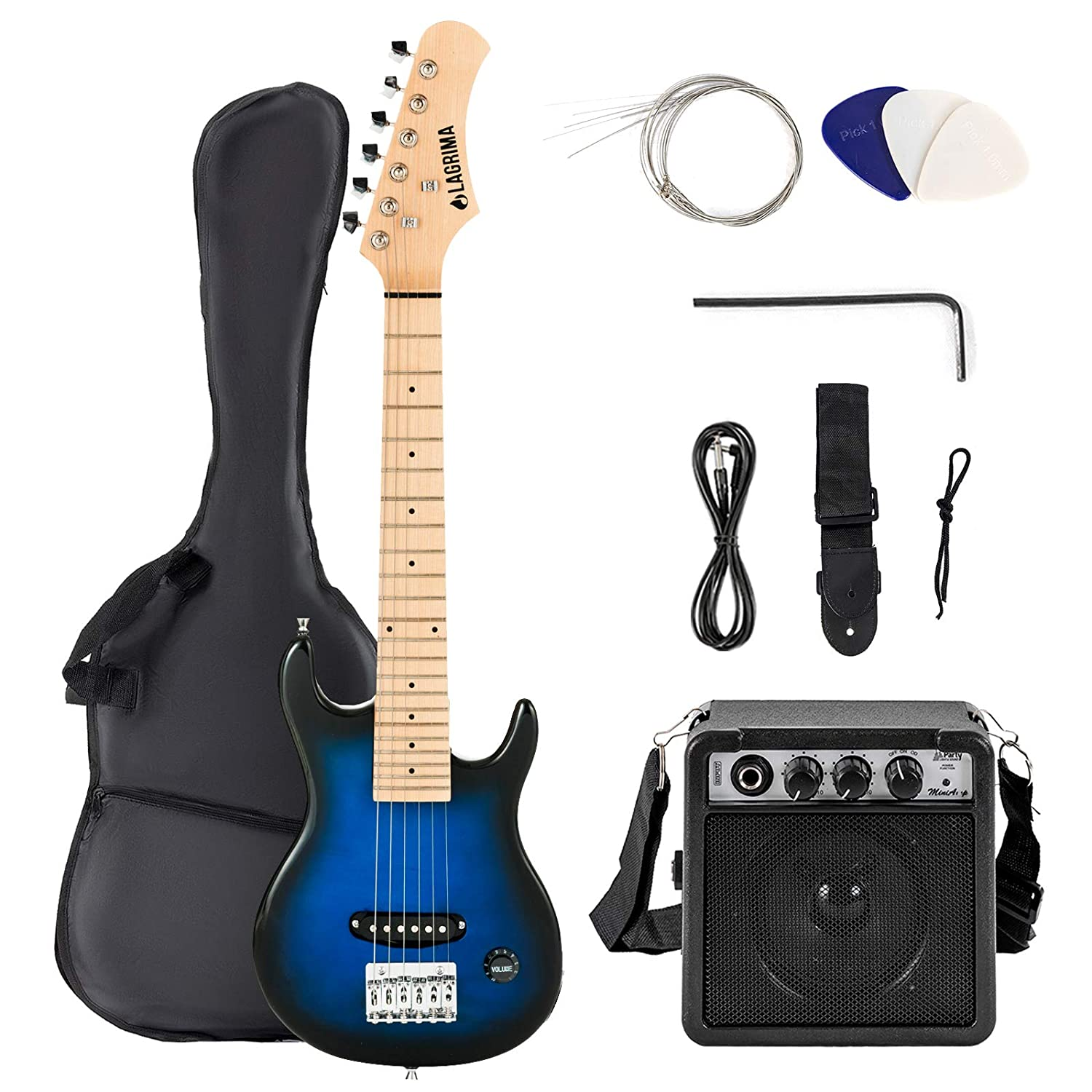30, Black LAGRIMA/30 Inch Electric Guitar Starter Kit with 5W Amp Case and Accessories Pack Beginner Starter Package