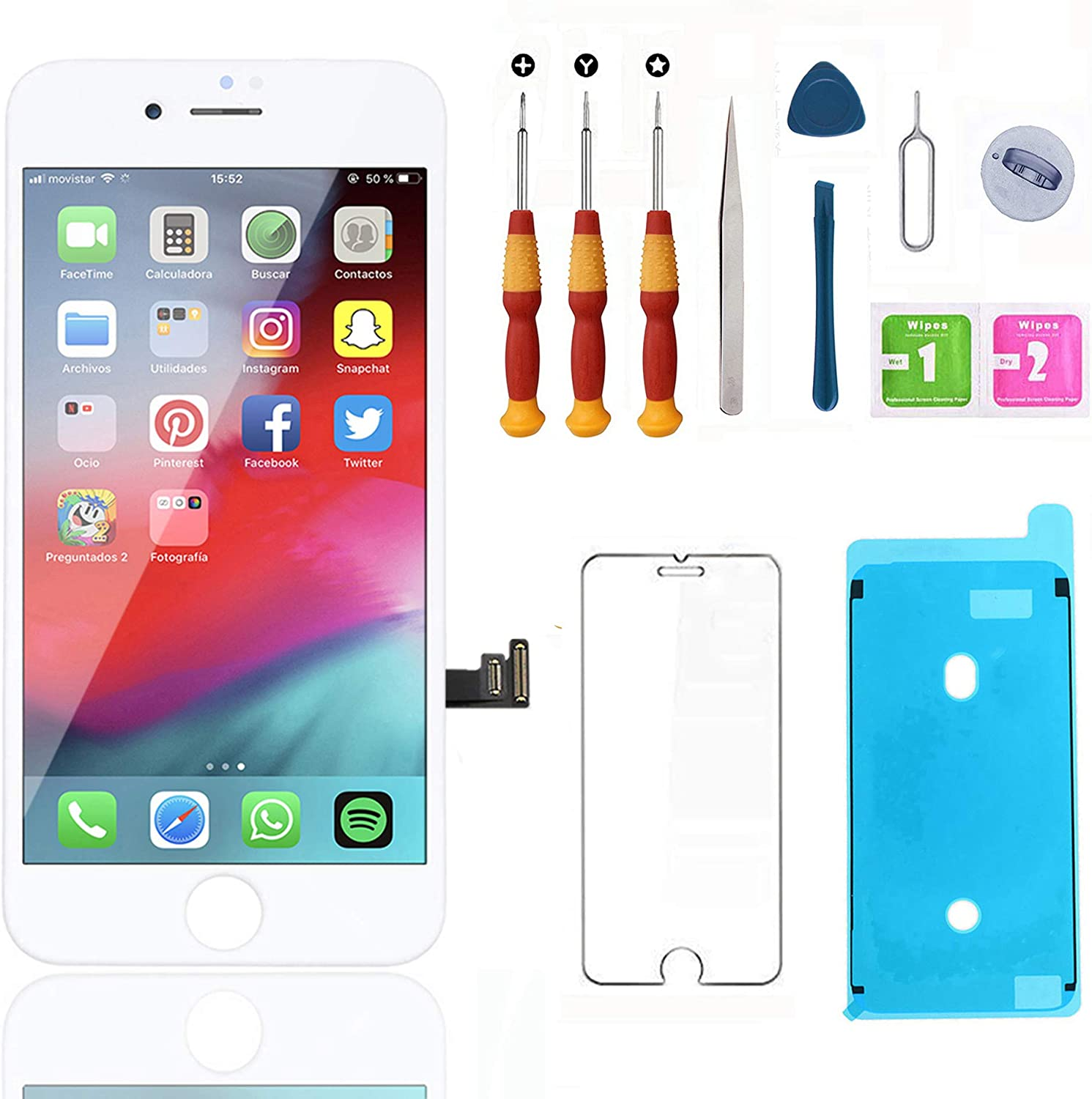 Swgrdin 3D Touch Screen Assembly for iPhone 8 Plus Screen Replacement White 5.5