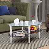 HomeTown Luna Metal with Glass Top Center Table in Brown Color