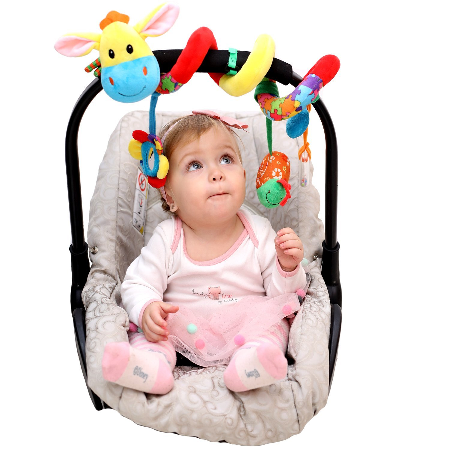 Car Seat Toy - Spiral Baby Hanging Activity Toy - Wrap Around Stroller, Crib, Pram, Bassinet - Unique Hook&Loop System - Doesn't Stay Bunched Up and Keeps it Stretched Out + eBook&Kids Songs Included