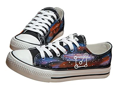 Space Star Constellation Low-cut Canvas Shoes Unisex Designs Hand-Painted Shoes Sneakers Personalized Adult Casual Lace Up Shoes for Men and Women