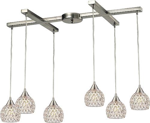 ELK Lighting 10341 6 Kersey Collection 6 Light Chandelier, 6 x 17 x 33 , Satin Nickel