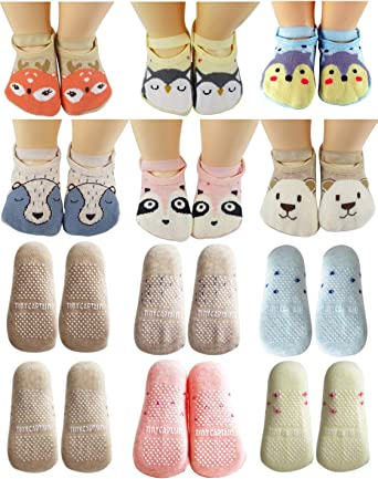 Baby Girls Boys Non Slip Toddler Socks with Grips Cute Cartoon Floor Sock W