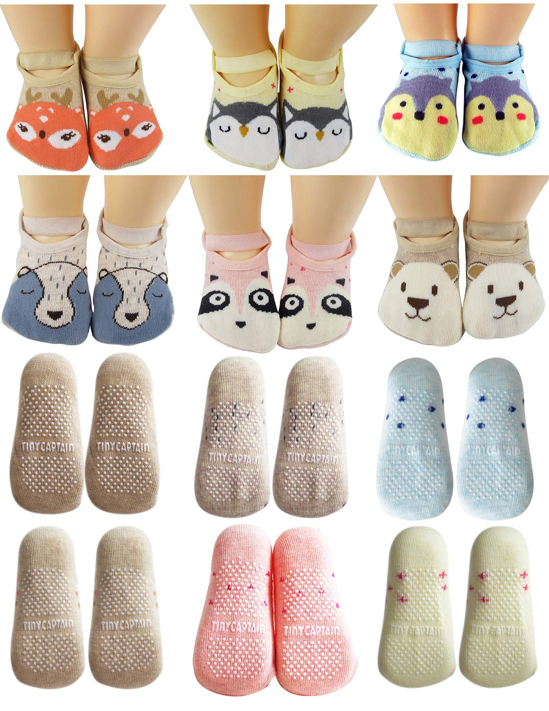 Baby Toddler Girls Grip Socks Anti Slip 1 Year Old Gift Cartoon Animal Best Non Skid Cotton Sock From Tiny Captain (Pink, Blue, Grey, Tan) by Tiny Captain