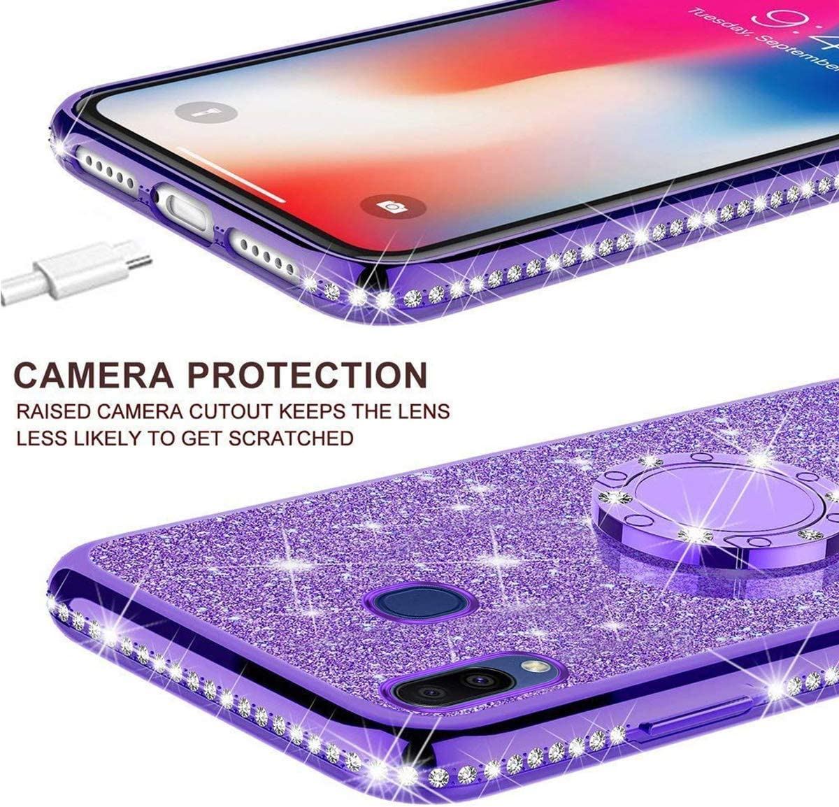 Herbests Compatible with Samsung Galaxy A50 Glitter Case Sparkly Bling Rhinestone Diamond Soft TPU Crystal Clear Flexible Protective Cover with Finger Ring Grip Holder Stand,Gold