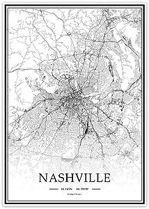 USA TN Nashville Black&White Minimalist Art 20×28 City Map Painting Poster Home Decor Gift