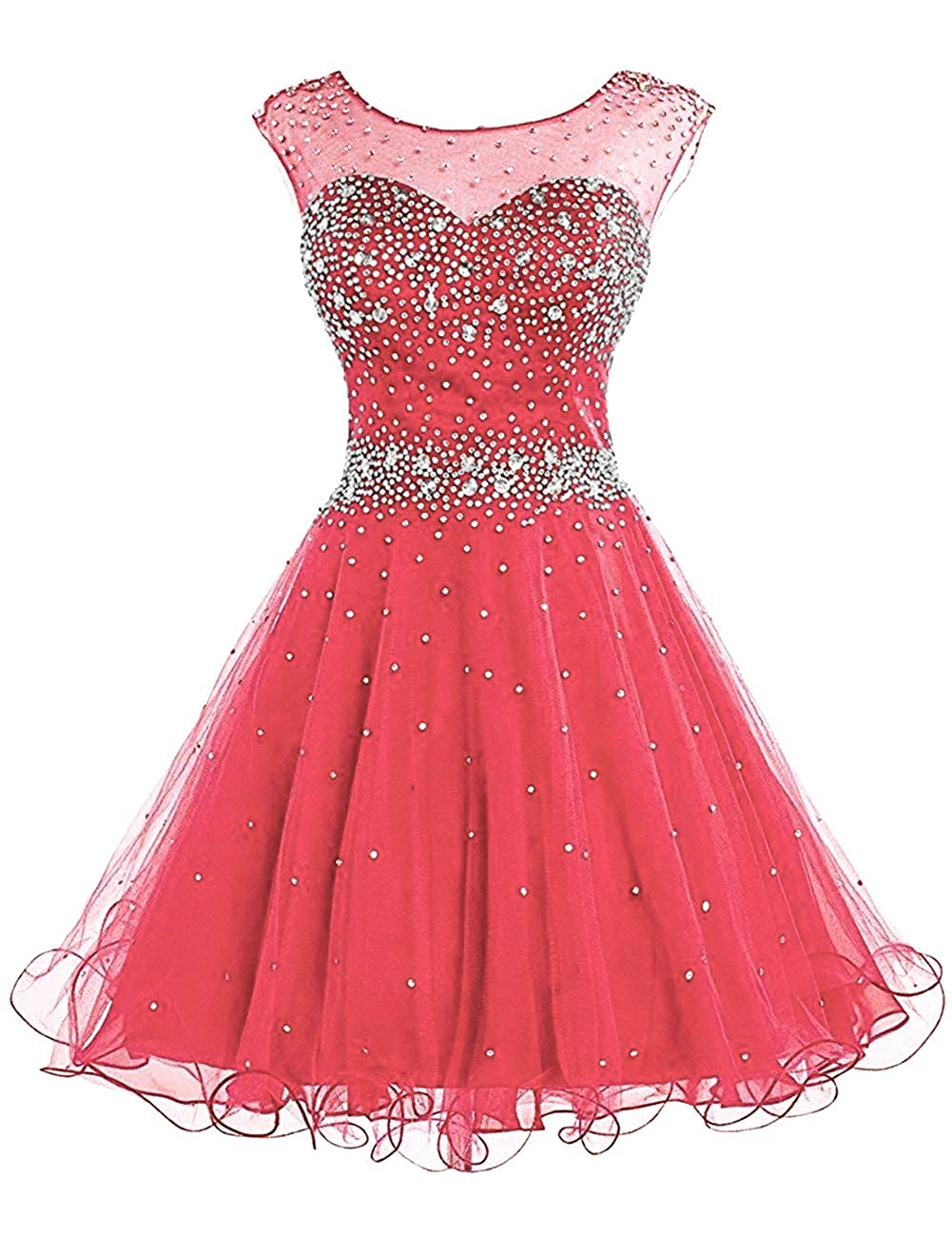 Coral H.S.D Homecoming Dresses Prom Party Dresses Short Cocktail Dress Beads Graduation Gown
