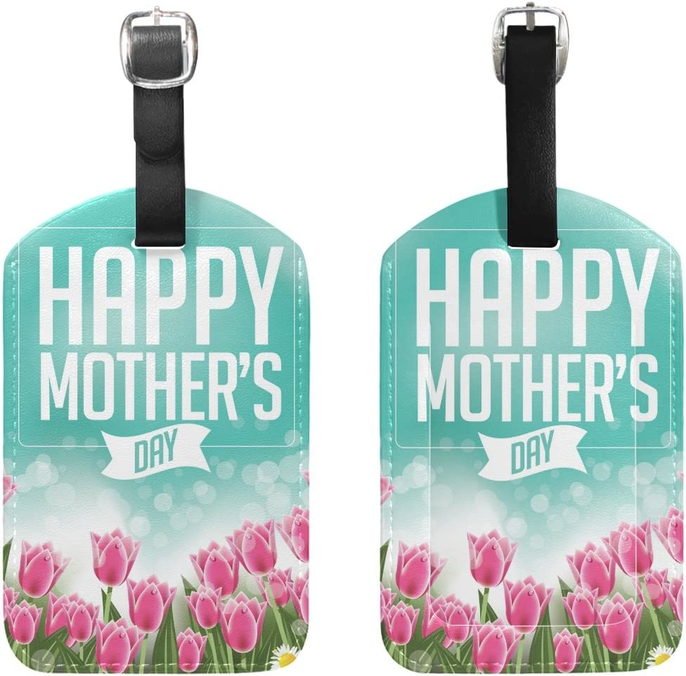 Chen Miranda Happy Mothers Day Tulips Luggage Tag PU Leather Travel Suitcase Label ID Tag Baggage claim tag for Trolley case Kids Bag 1 Piece