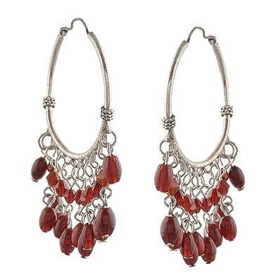 97b1eaf1b Buy Ornamenta Jewellery Lightweight Silver Tone Beaded Hoop Earrings Online  at Low Prices in India | Amazon Jewellery Store - Amazon.in