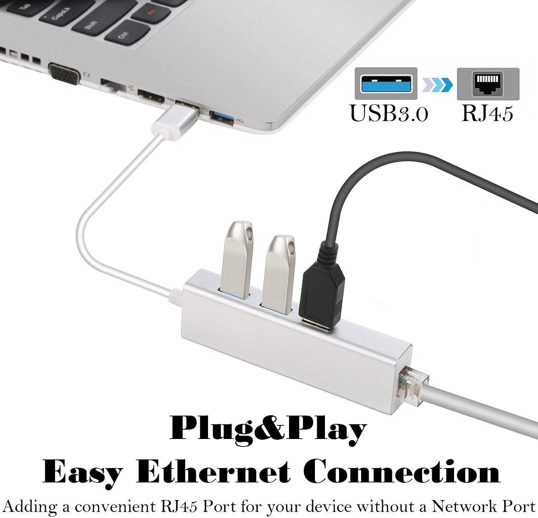 MeterMall Fresh for 3 Ports USB 3.0 Gigabit Ethernet LAN RJ45 Network Adapter Hub to 1000Mbps Mac PC