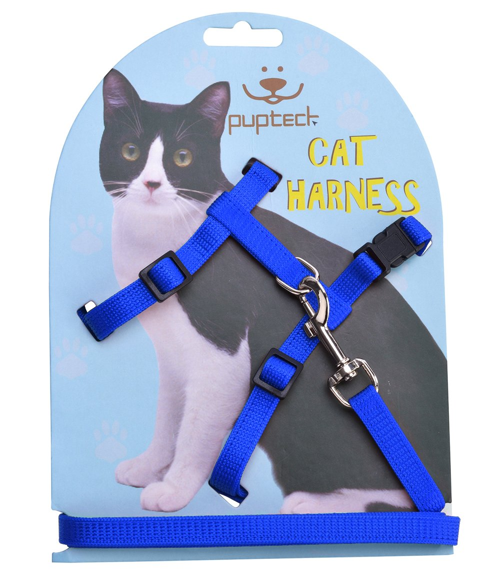 Adjustable Cat Harness Nylon Strap Collar with Leash Black PUPTECK Blue