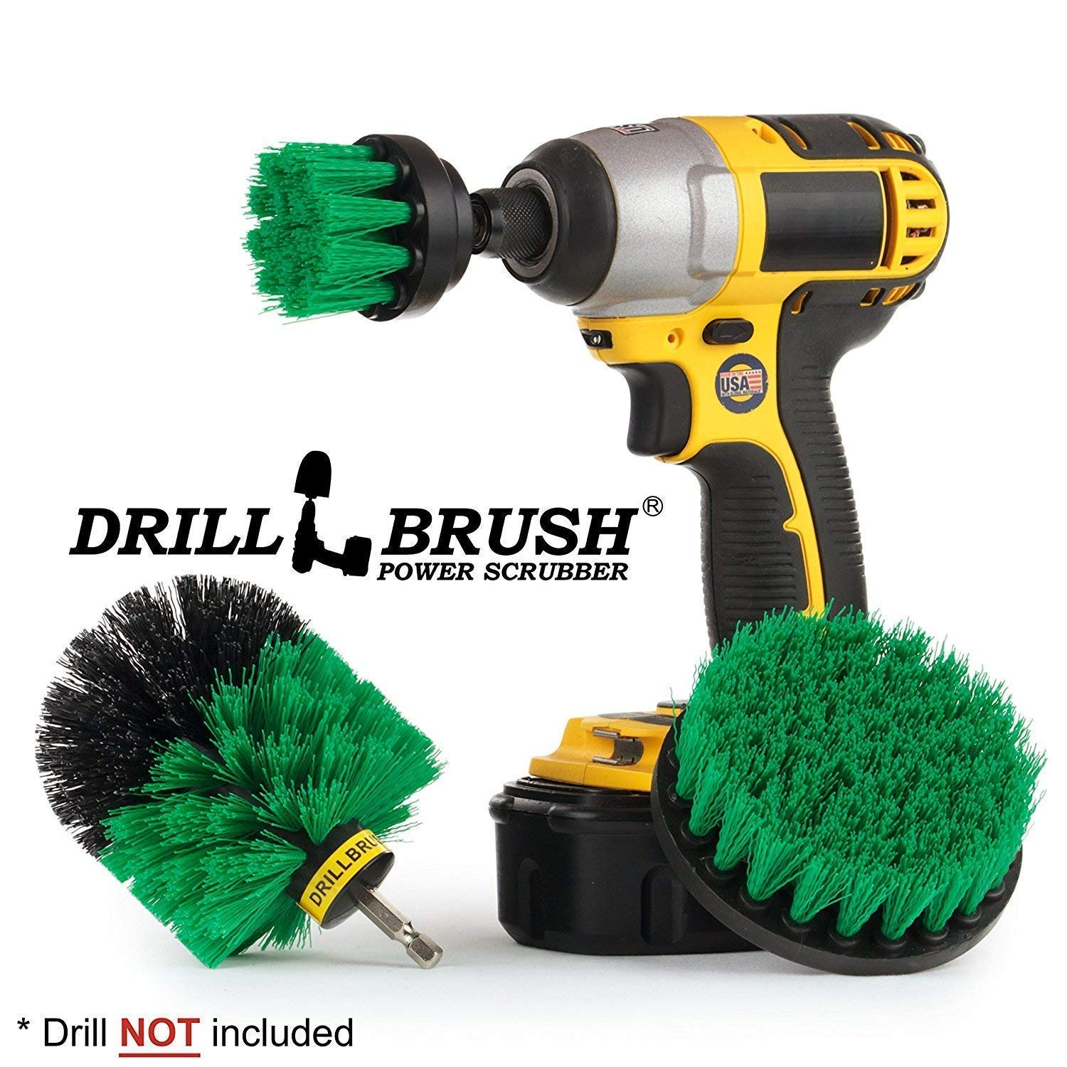 Drillbrush Bathroom Surfaces Tub Spin Scrubber Brush Shower Drill Brush Power Scrubber Brush For Drill Tile and Grout All Purpose Power Scrubber Cleaning Kit Toilet Brush Drill Attachment