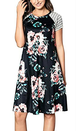 926b3c4a99 LiMiCao Floral Printed Casual Short Sleeve Crewneck T-Shirt A-line Midi  Dress for