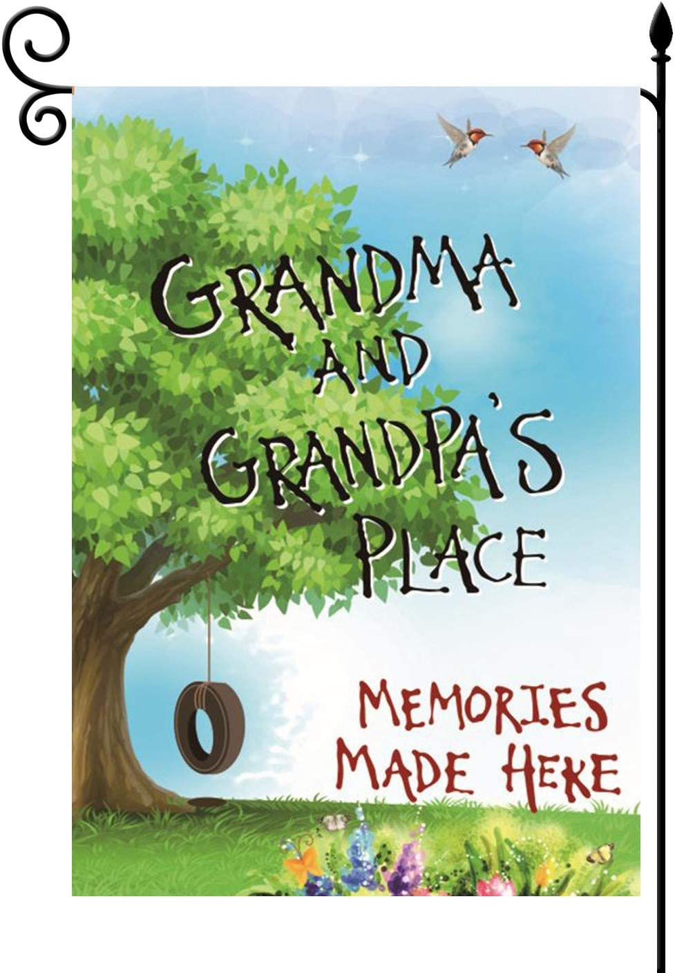 YaoChong Grandma and Grandpa's Place Garden Flag Vertical Double Sided,Autumn Spring Summer Gifts Memories Made Here Yard Lawn Decorations 12.5x18 Inch