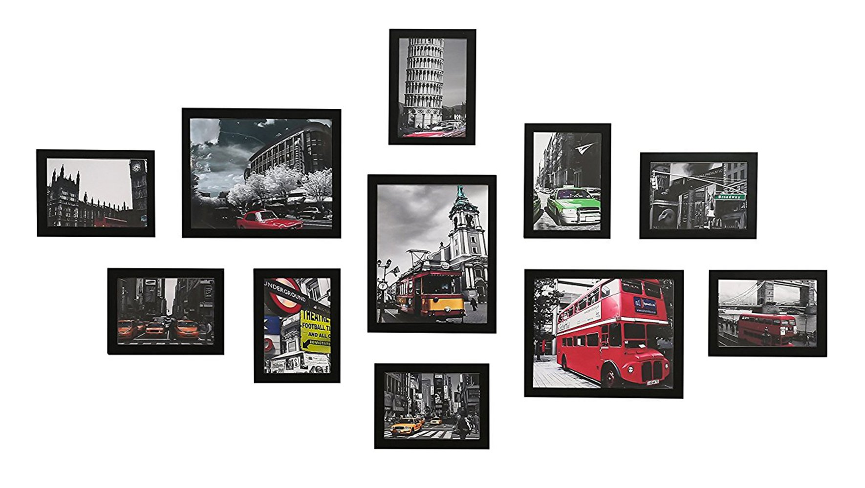 WOOD MEETS COLOR Wall Picture Frames Set of 11, with Hanging Template, Real Glass Window and Photo Mats, 3-8x10 and 8-5x7 Collage Frames (Black)