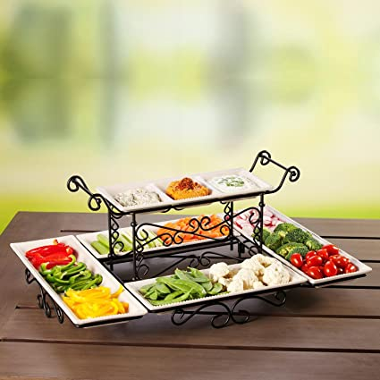 amazon com gourmet buffet server with steel frame and six stoneware rh amazon com elite gourmet buffet server tiered gourmet buffet server