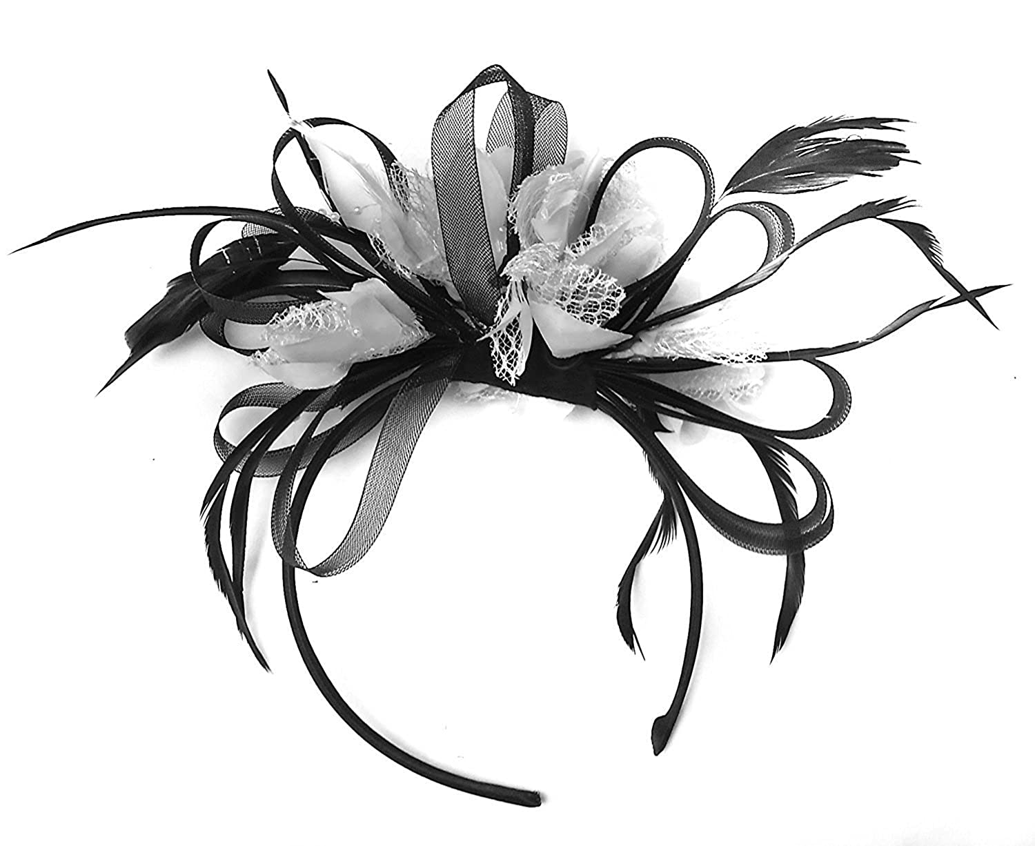 Gorgeous Black And White Fascinator On Headband Big Large Wedding Ascot Races by Caprilite Fashion