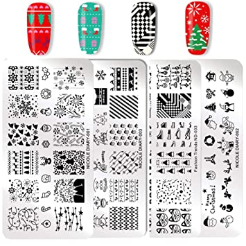 nicole diary christmas stamping plates rectangle nail stamp image template xmas new year festival pattern nails