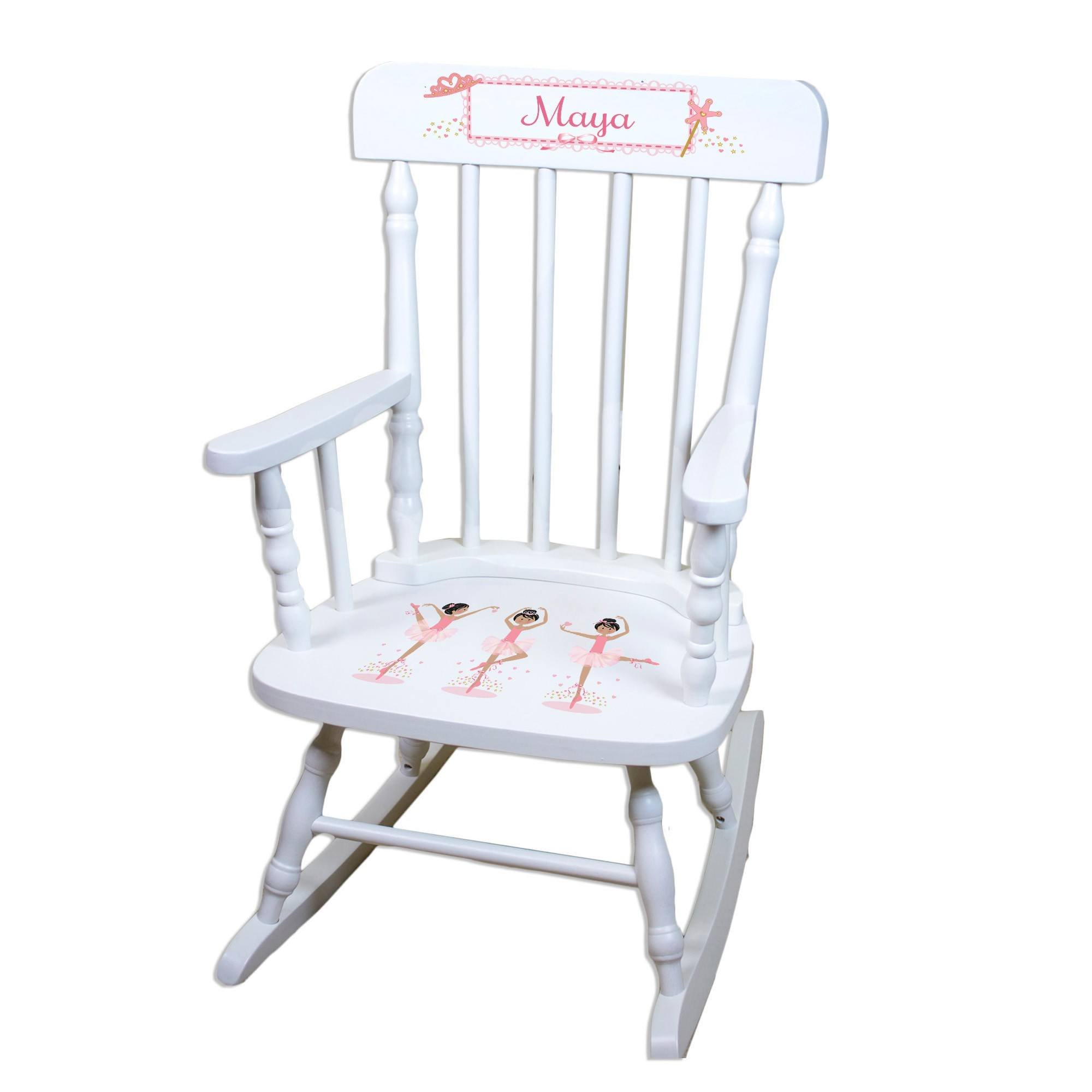 MyBambino Personalized Ballerina black hair White Wooden Childrens Rocking Chair