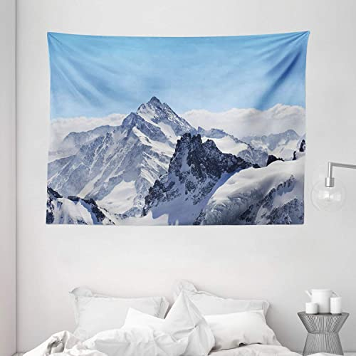Ambesonne Winter Tapestry, Snowy Rocky Mountain Peaks Tops Scene High Lands ICY Frozen Swiss Outdoor Art, Wide Wall Hanging for Bedroom Living Room Dorm, 80 X 60 , White Blue