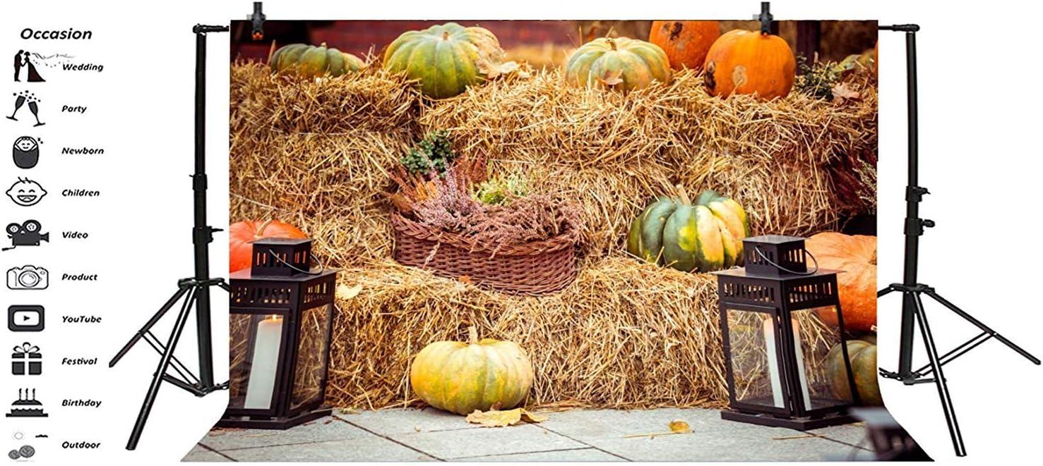 GoEoo 10x8ft Fall Barn Pumpkins Haystack Background Happy Thanksgiving Photography Backdrop Autumn Farm Straw Hay Bales Vintage Lantern Photo Studio Props Holiday Party Decoration Vinyl Banner