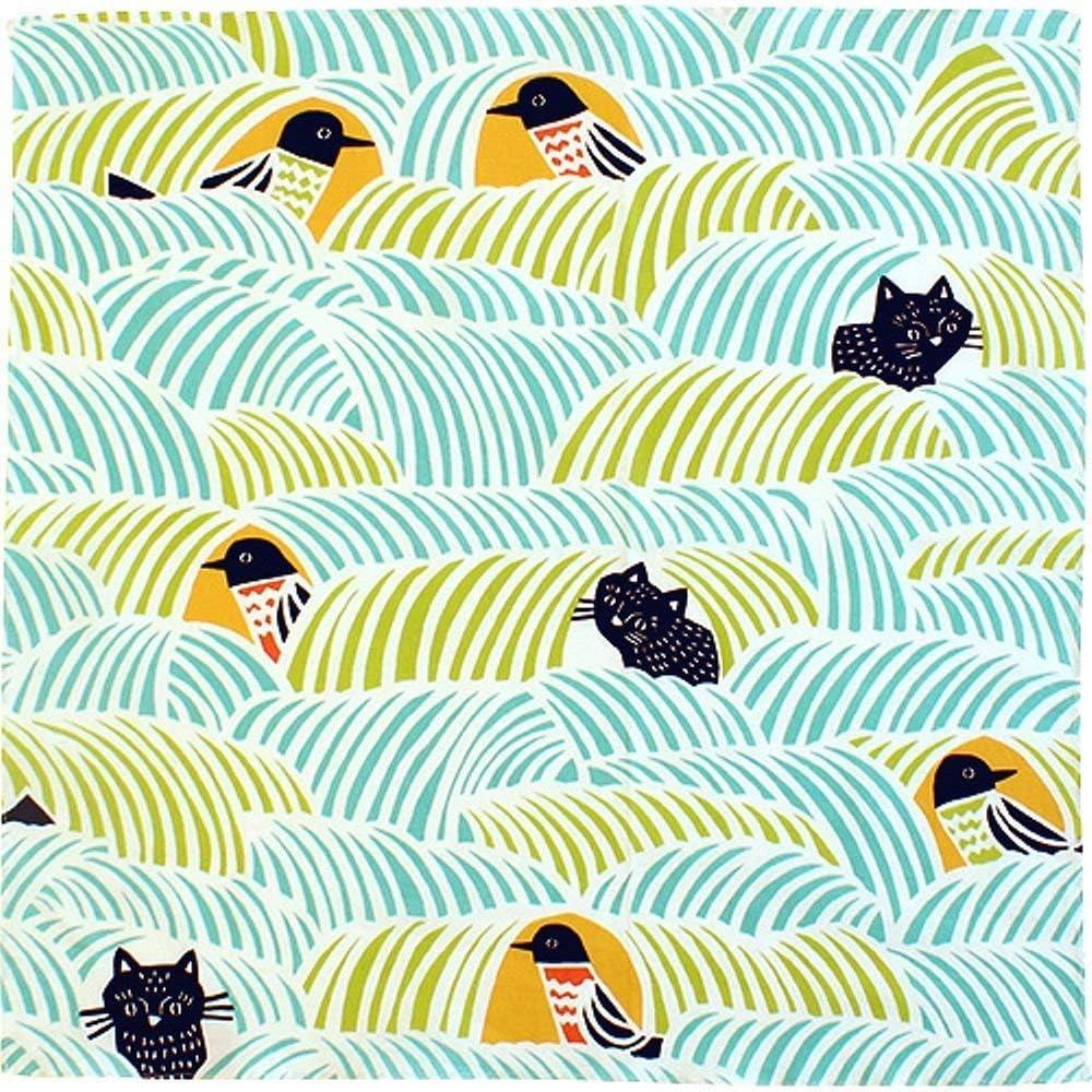 Motiv Schwarze Katze und Vogel 45 x 45 cm Musubi Katakata Furoshiki Wickeltuch