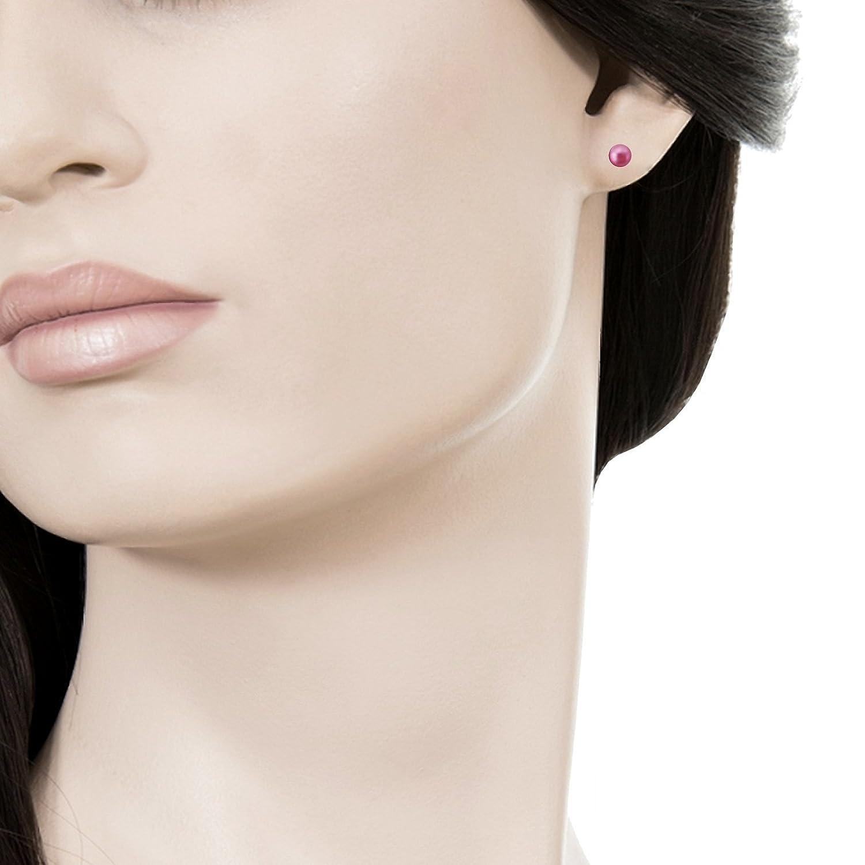 JAYARE Kinder-Ohrstecker Perlen aus 925 Sterling Silber 4 mm M/ädchen-Ohrringe im Schmuck-Etui