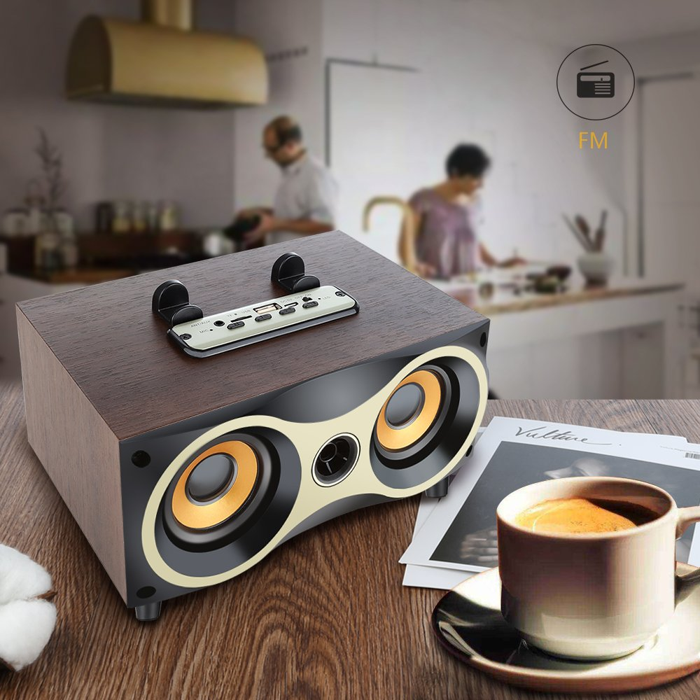Desktop Portable Wooden Wireless Speaker Subwoofer Stero Bluetooth Speakers Support TF MP3 Player with FM Radio, Phone Holder for iPhone Android by Sysmarts (Image #3)