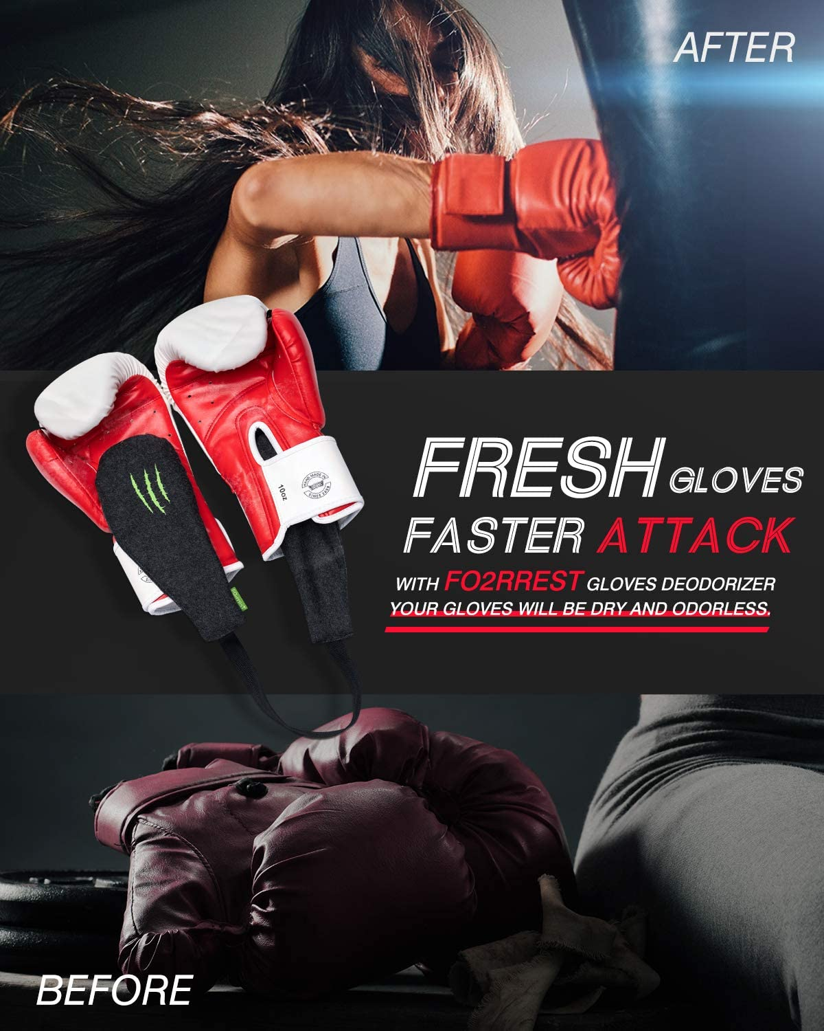 FO2RREST Glove Deodorizers for Boxing - Odor Eliminator and Moisture Absorber for Sports Gloves, Air Purifying Bags : Sports & Outdoors