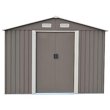 DOIT 8u0027x10u0027 Outdoor Metal Steel Low Gable Storage Shed Gray Tool Utility For
