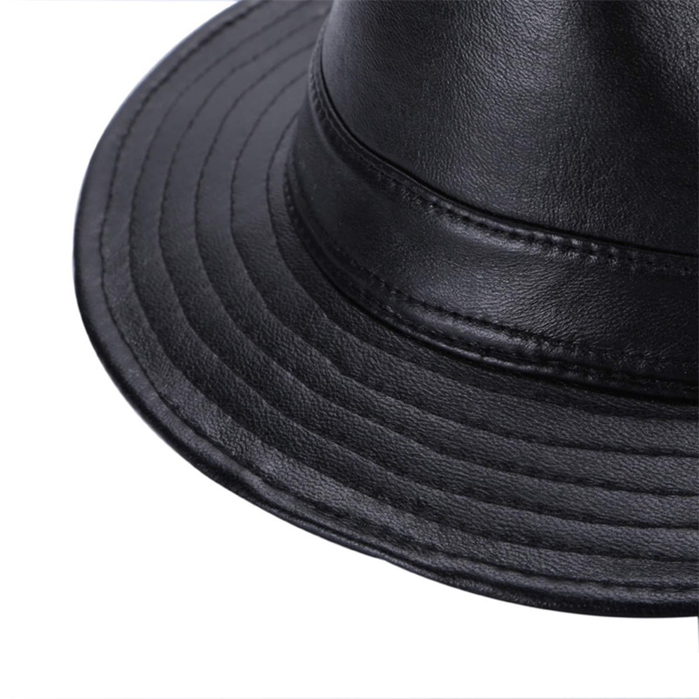 Amazon.com: Winter Genuine Leather Wide Brim Stetson Fedoras British Hats Gentman Black Fitted Jazz Hip-Pop Gorras Women Men: Clothing