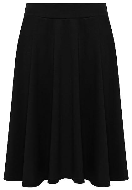 1bd4b5b1c076 Candid Styles Womens Plain Knee Length Ladies Soft Stretch Flared Skater  Midi Skirt Plus Size Black  Amazon.co.uk  Clothing