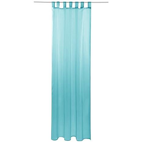 Gardine Mit Schlaufen Transparent Voile 140 X 175cm Breite X Länge In Türkis Aqua Schlaufenschal In Vielen Weiteren Farben Und Größen