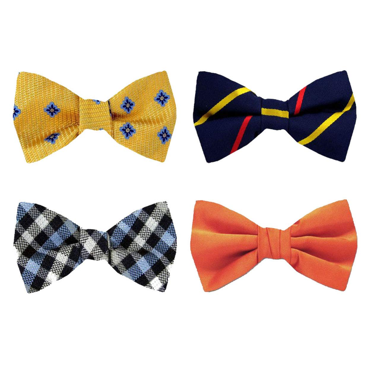 aa1b7126ac22 FBT-PK-103 - Mens Silk Designer Pattern Self Tie Bow Tie Ties Assorted 4  Bow Pre-Pack at Amazon Men's Clothing store: