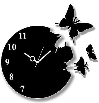 Buy Basement Bazaar Butterfly MDF Wooden Wall Clock Small Black
