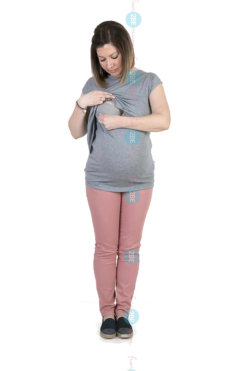 For pregnant ladies bvgg - Fun2bemum 3in1 Maternity Pregnancy Tunic Top Grey At Amazon Women S Clothing Store