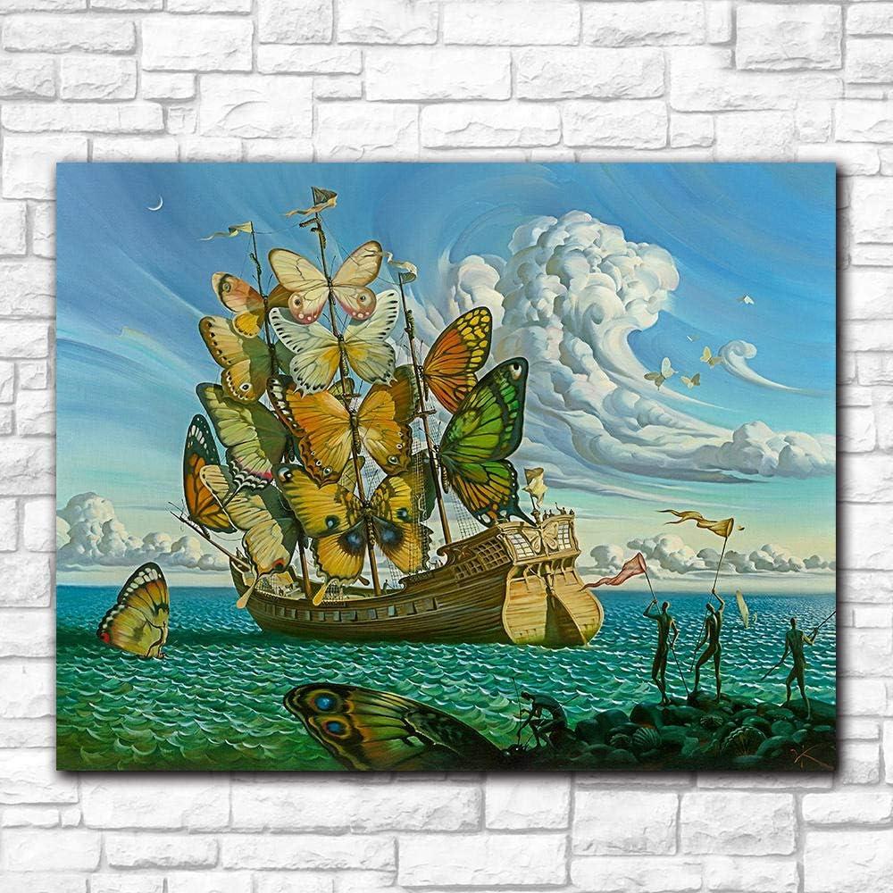 RuYun Moda Arte de la Pared Salvador Dali Pintura Mariposa Barco Pared Cuadros para Sala de Estar decoración del hogar Pinturas Impresas 40cm x60cm Sin Marco