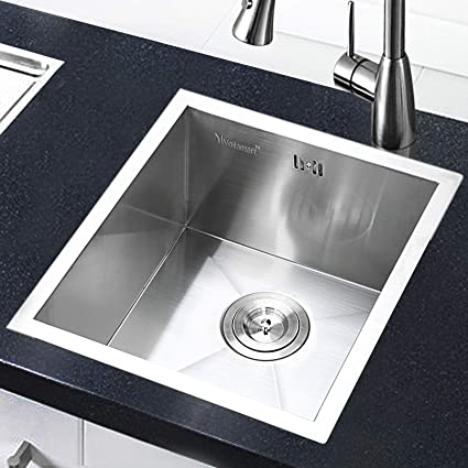 Miraculous Voilamart Undermount Kitchen Sink Square Stainless Steel Sink Single Bowl Sink With Drainer Waste And Overflow For Undermount Topmount Drop In Complete Home Design Collection Lindsey Bellcom
