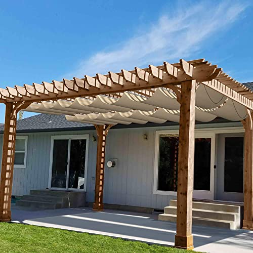 Patio Waterproof Retractable Shade Cover Pergola Replacement Cover Canopy Outdoor Slide Wire Wave Shade Sail Deck 7'x34' Beige