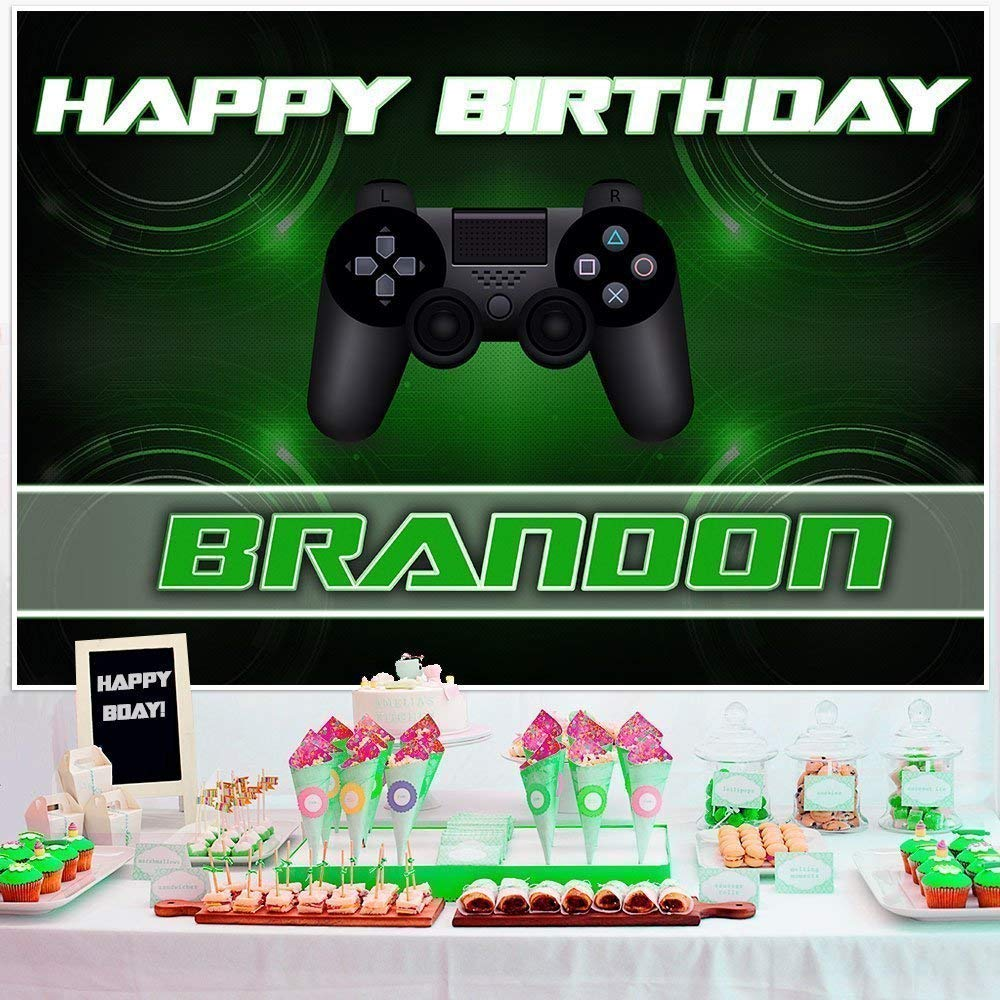 Video Gamer Birthday Banner Dessert Cake Table Personalized Party Backdrop