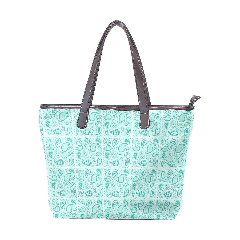 Women Large Tote PU Leather Shoulder Bags Art Paisley Ladies Handbag