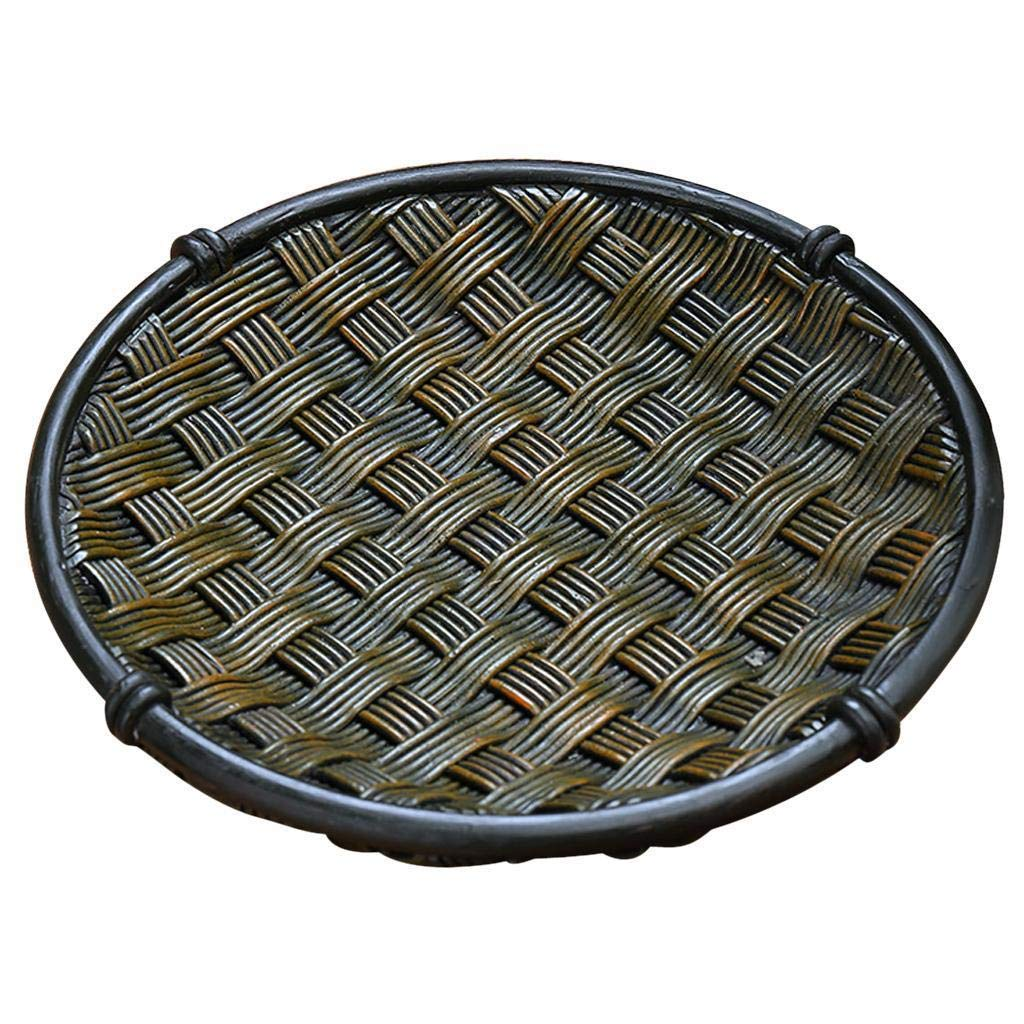 Bazzano Round Plate Rattan Best Tray Fruit Tea Coffee Food Platter for Home Kitchen 21cm