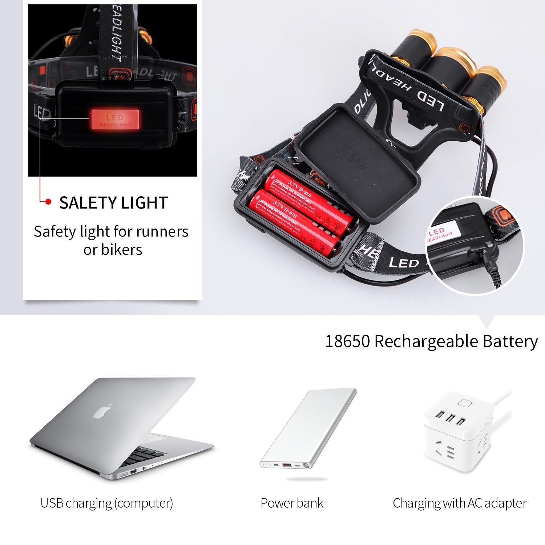 Super brillante LED linterna frontal recargable lámpara de bolsillo impermeable faro, 9000 lumens Sensor Zoomable ajustable linterna de cabeza para camping ...
