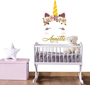 Diuangfoong Unicorn Vinyl Wall Decal with Girl Name Personalized Decor Eyelashes for Nursery Baby Girl Room Unicorn Wall Art Bedroom Above Bed Sa322