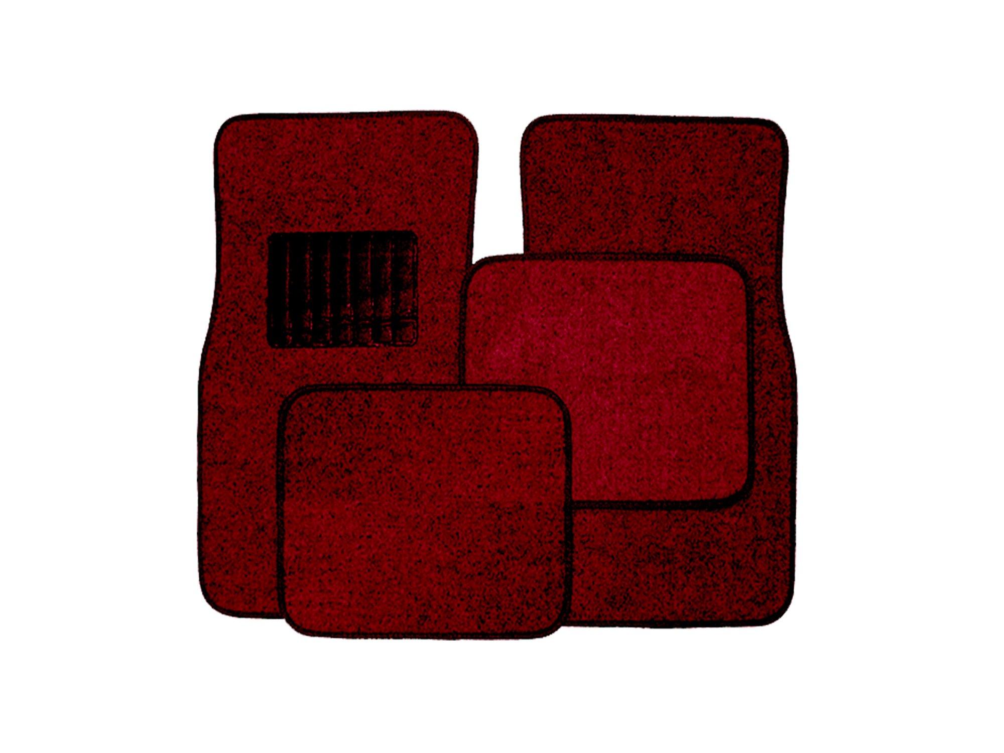 New Universal Burgundy Carpet Car Floor Mats 4 Pcs Set for Cars Trucks SUVS With Burgundy Heel Pad -Front and Rear Mats