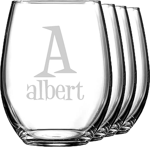set of 4 Monogram initial with name stemless wine glass