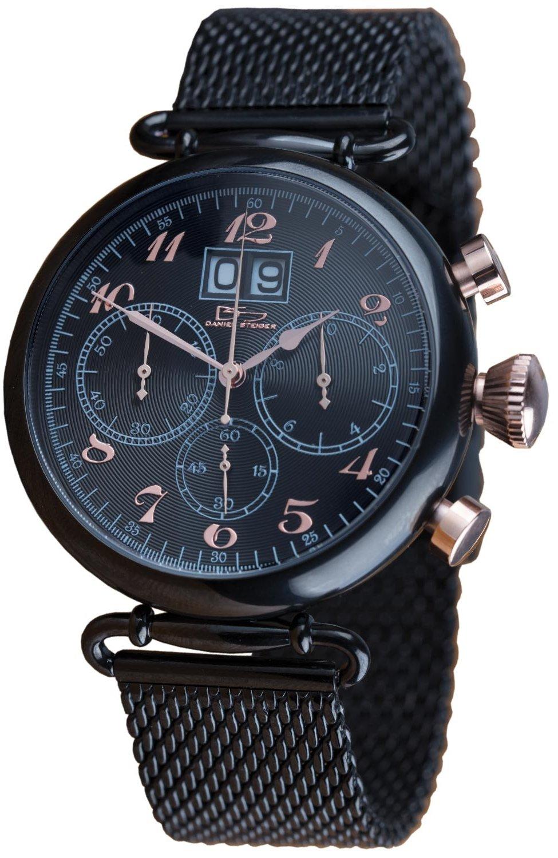 Daniel Steiger Magnus Black Men's Watch - Comfortable Mesh Band - Split Second Chronograph Quartz Movement - 100M Water Resistant - Magnificent Presentation Case Perfect For Gift Giving